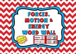 forces motion and energy word wall