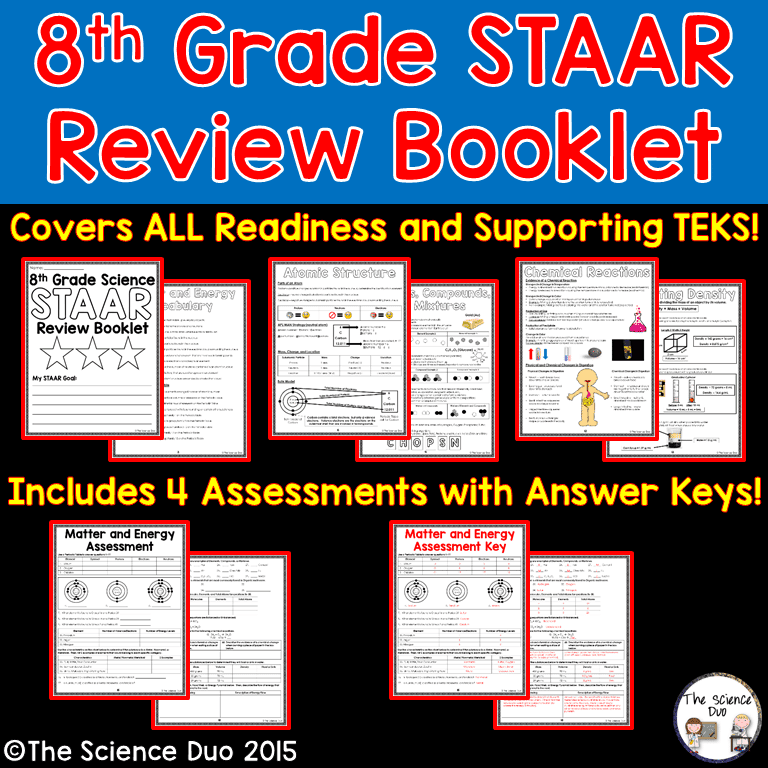 An amazing review booklet for students to study for the 8th grade science STAAR test