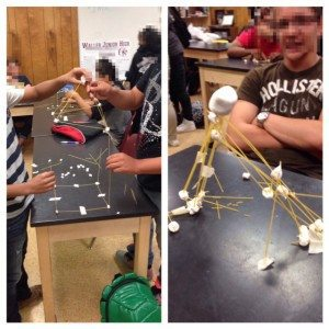 spaghetti and marshmallow towers