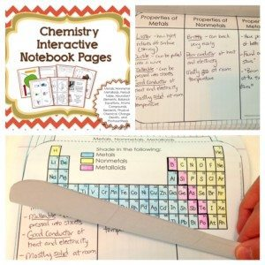 Metals Nonmetals and metalloids for chemistry interactive science notebooks