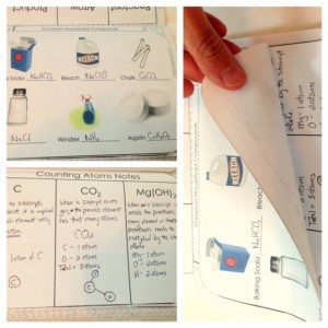 Interactive science notebook pages for discussing the difference between elements and compounds