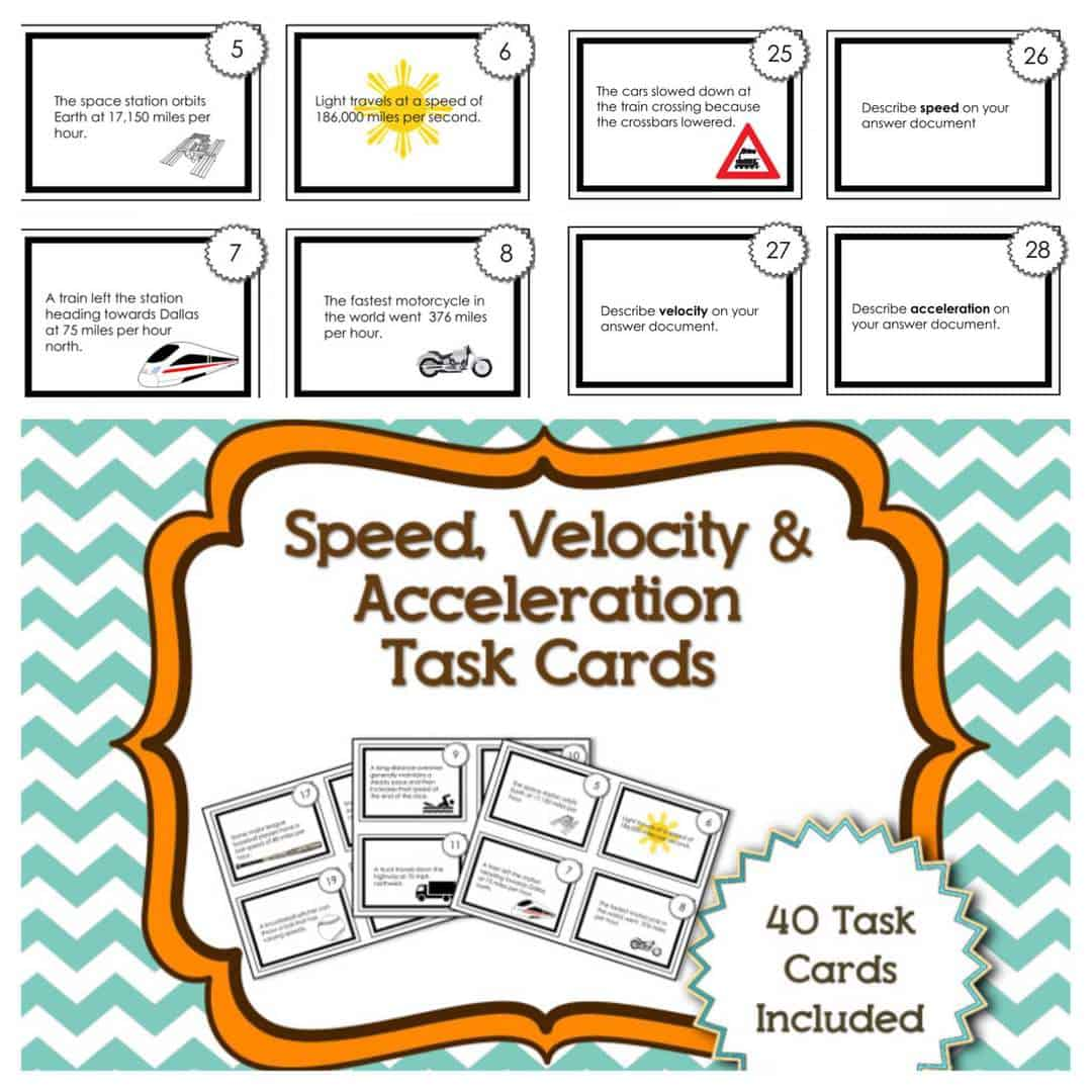 task cards for speed velocity and acceleration kesler science. Black Bedroom Furniture Sets. Home Design Ideas