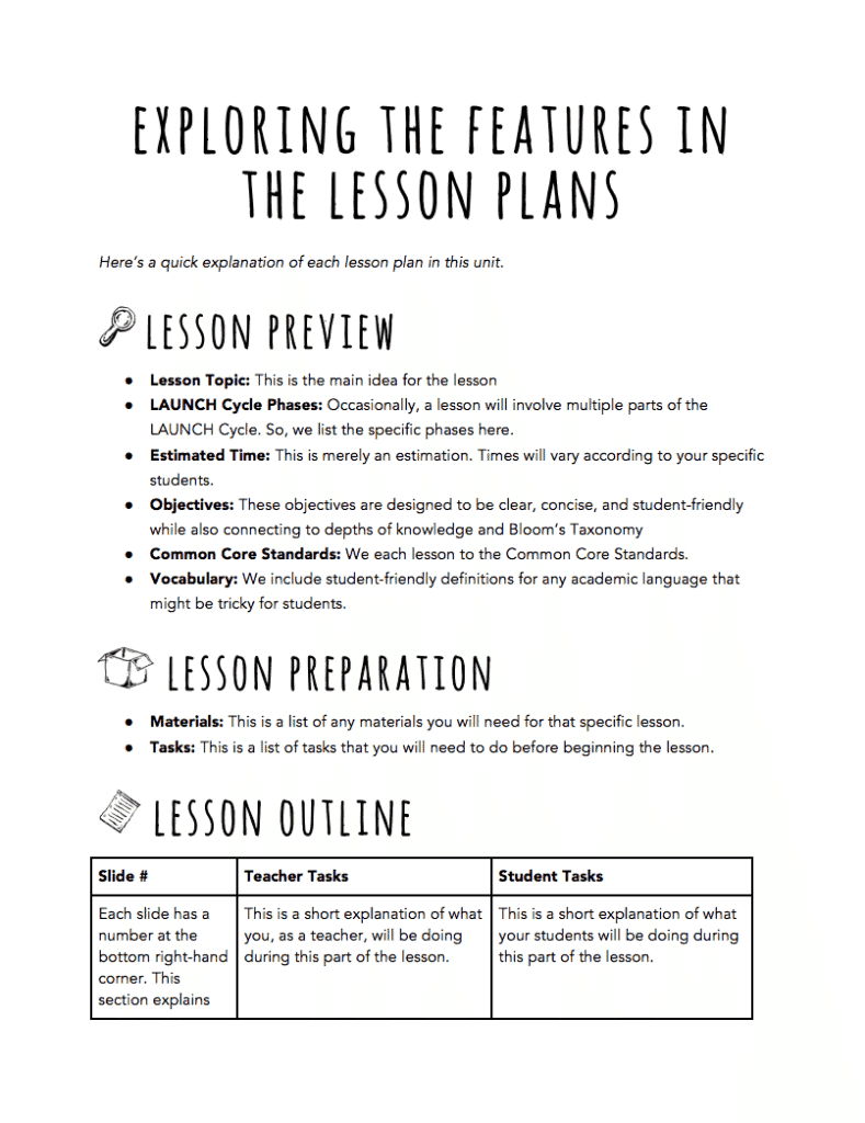 Launch Cycle Teacher Lesson Plan