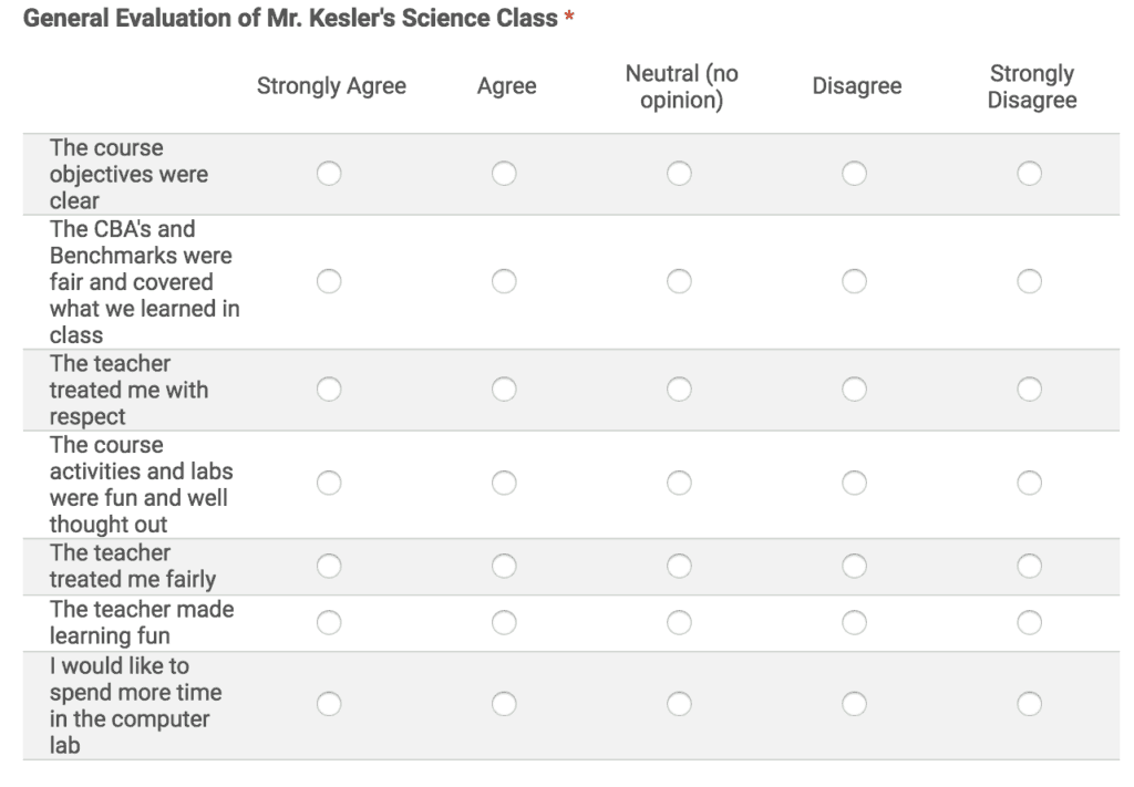 Survey your students at the end of the year to make yourself a better teachers.