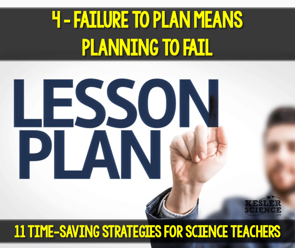Failing to plan will be a major cause of stress for any science teacher. Read all about how to make your science class more efficient using 11 time saving strategies