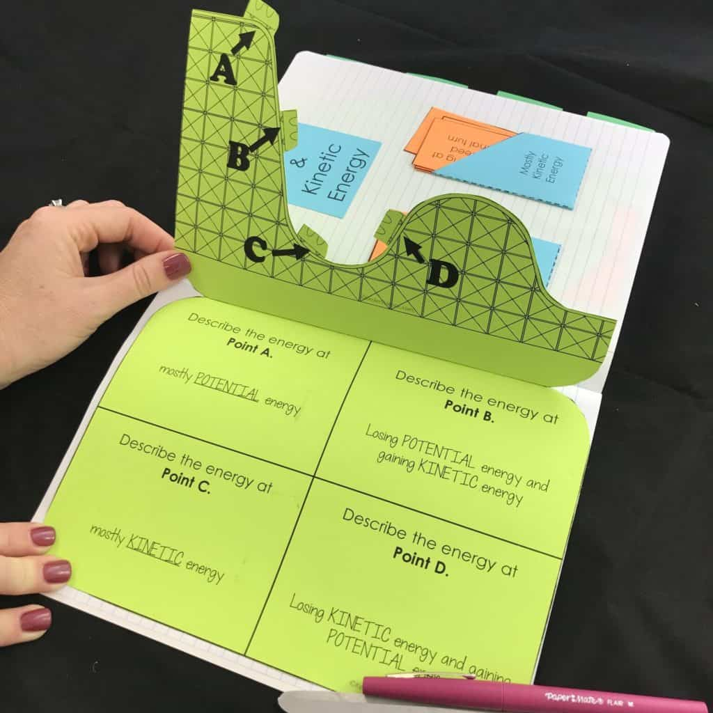 Potential and Kinetic Energy 5E Lesson and interactive notebook templates
